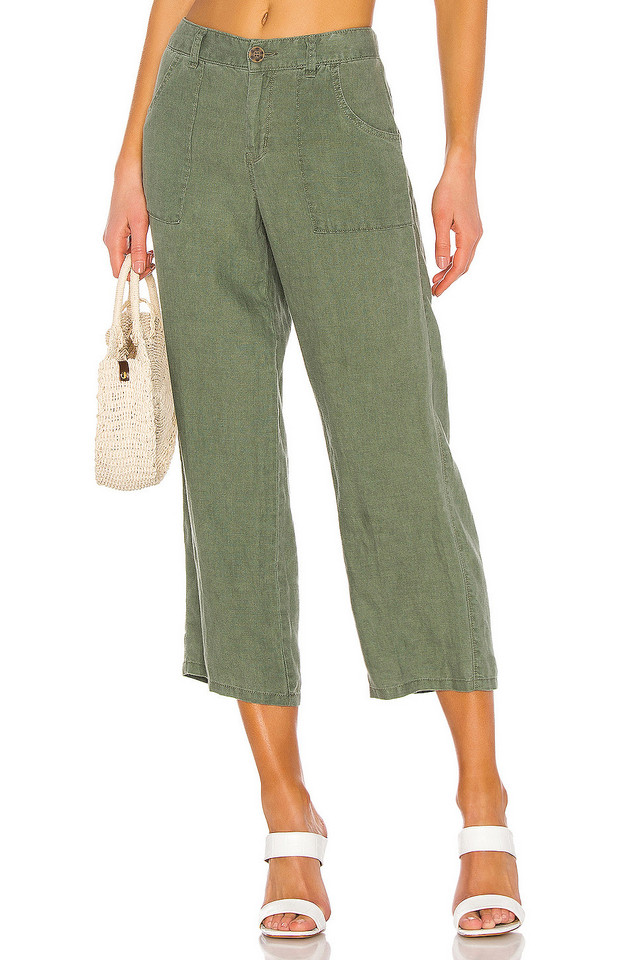 Sanctuary Traveler Wide Leg Crop Utility Pant in green
