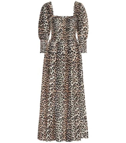 Ganni Cotton and silk midi dress in brown
