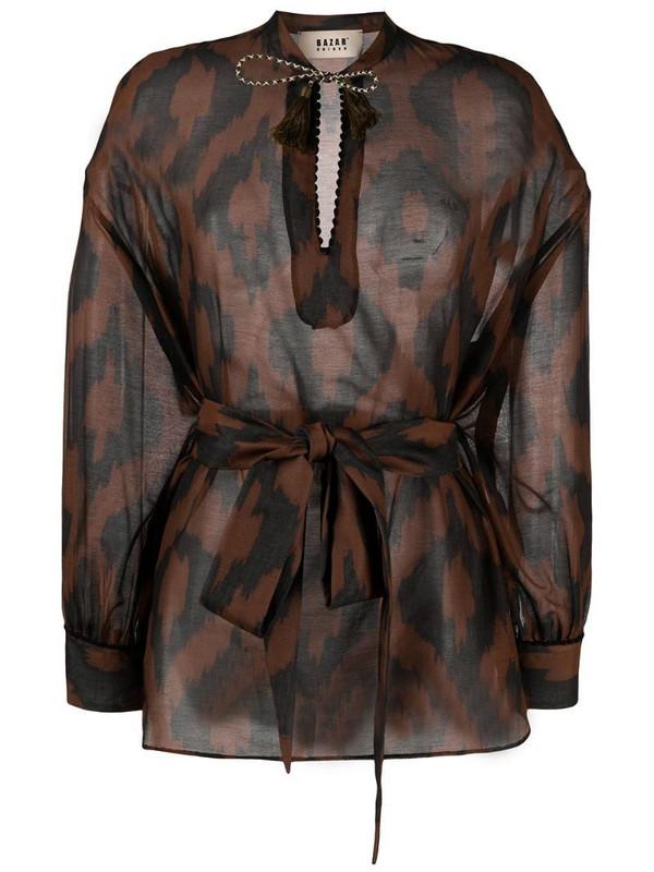 Bazar Deluxe geometric-print long-sleeve blouse in brown