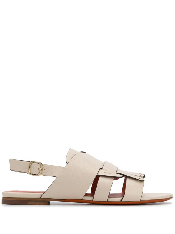 Santoni slingback low heel sandals in neutrals