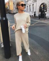 pants,culottes,nude pants,cropped pants,sweater,two-piece