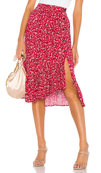 MINKPINK Sweet Like Me Midi Skirt in Red