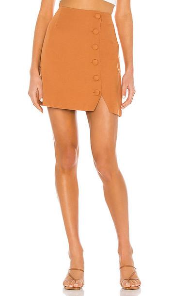AMUSE SOCIETY Mari Woven Mini Skirt in Burnt Orange