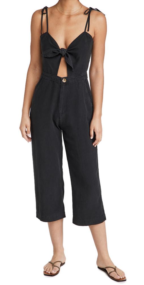 DL DL1961 Hepburn High Rise Wide Leg Jumpsuit in black