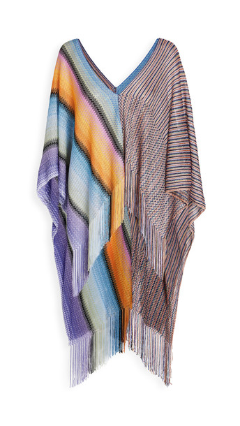 Missoni Stripes & Zigzag Poncho in lavender / yellow / multi