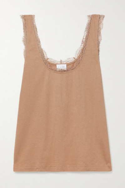 Cami NYC - Britney Lace-trimmed Cotton And Modal-blend Jersey Tank in tan