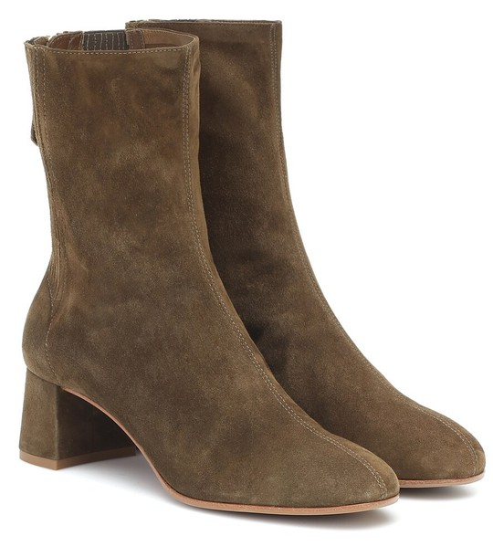 Aquazzura Saint Honoré 50 suede ankle boots in green