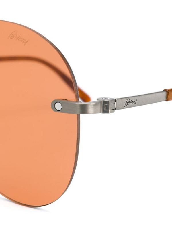Brioni aviator shaped sunglasses in brown
