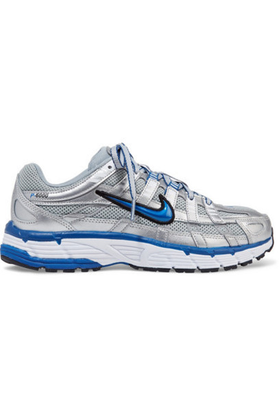 Nike - P-6000 Metallic Leather And Mesh Sneakers - Silver