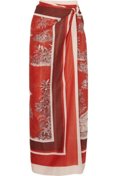 Johanna Ortiz - Costa Del Sol Printed Cashmere And Silk-blend Pareo - Red