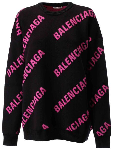 Balenciaga Logo Sweater in black / pink