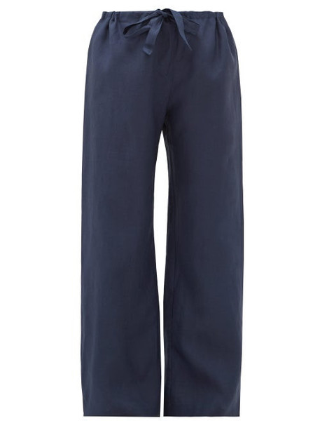 Rossell England - Wide Leg Slubbed Linen Pyjama Trousers - Womens - Navy