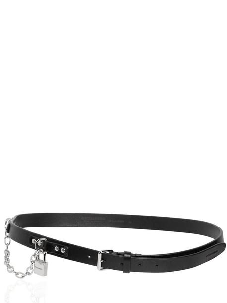 DSQUARED2 25mm Leather Belt W/ Lock in black / silver