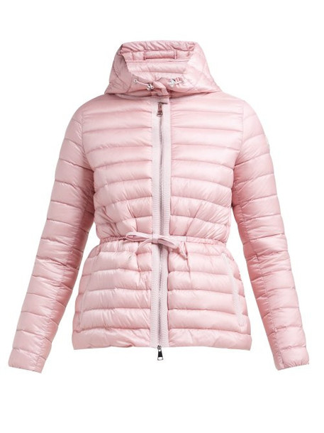 Moncler - Raie Hooded Quilted Down Coat - Womens - Light Pink