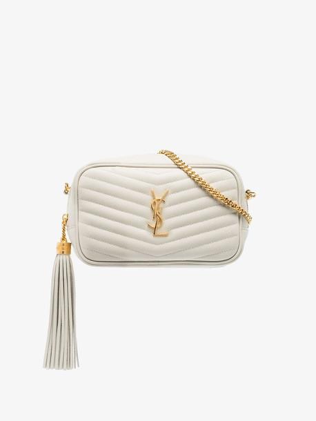 Saint Laurent White Quilted Lou mini shoulder bag