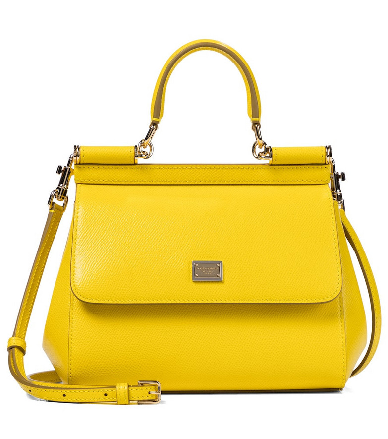Dolce & Gabbana Sicily Small leather shoulder bag in yellow