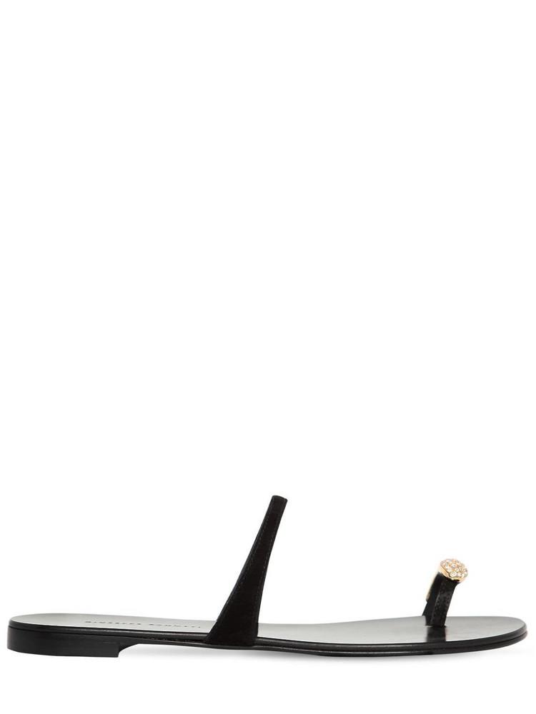 GIUSEPPE ZANOTTI DESIGN 10mm Suede & Swarovski Flat Sandals in black