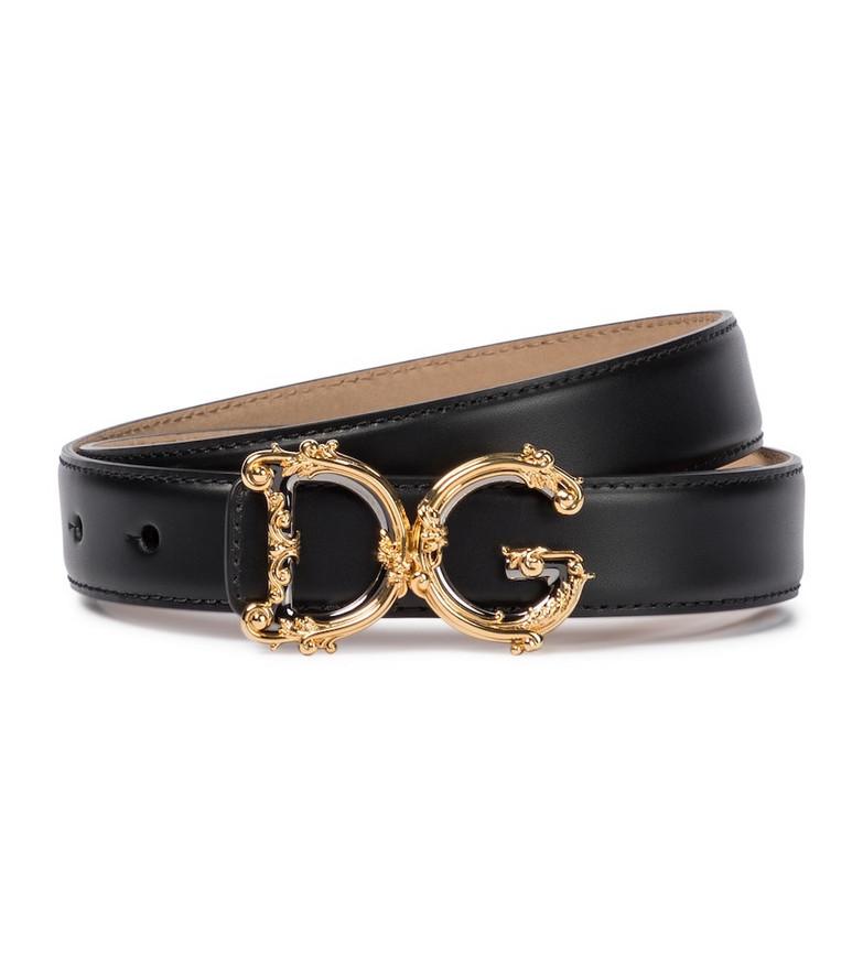 Dolce & Gabbana Monogram leather belt in black