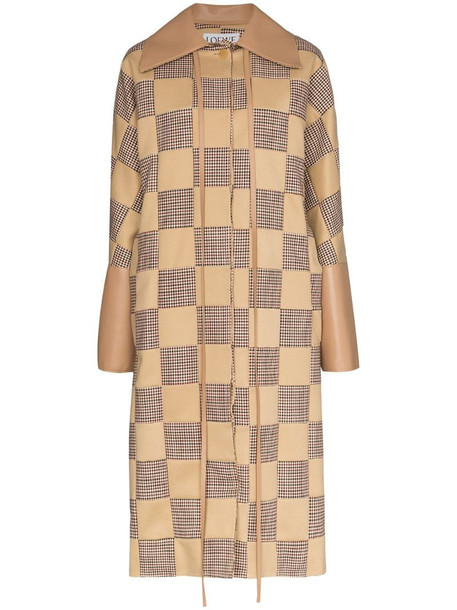 LOEWE check pattern cocoon style coat in neutrals