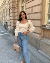 jeans,high waisted jeans,straight jeans,blouse,bag
