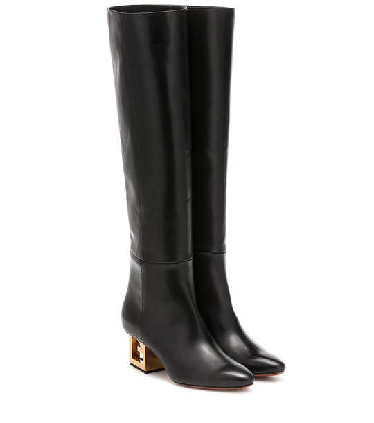 Givenchy Triangle leather over-the-knee boots in black