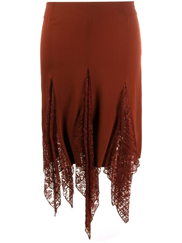 Romeo Gigli Pre-Owned 1990s lace panel skirt in red