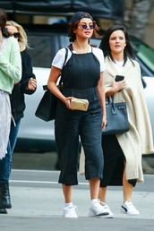 shoes,sneakers,white,selena gomez,celebrity,pants,jumpsuit,black and white