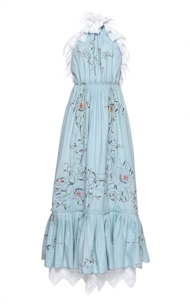 nevenka Loyalty Halter Embroidered Cotton Dress in blue