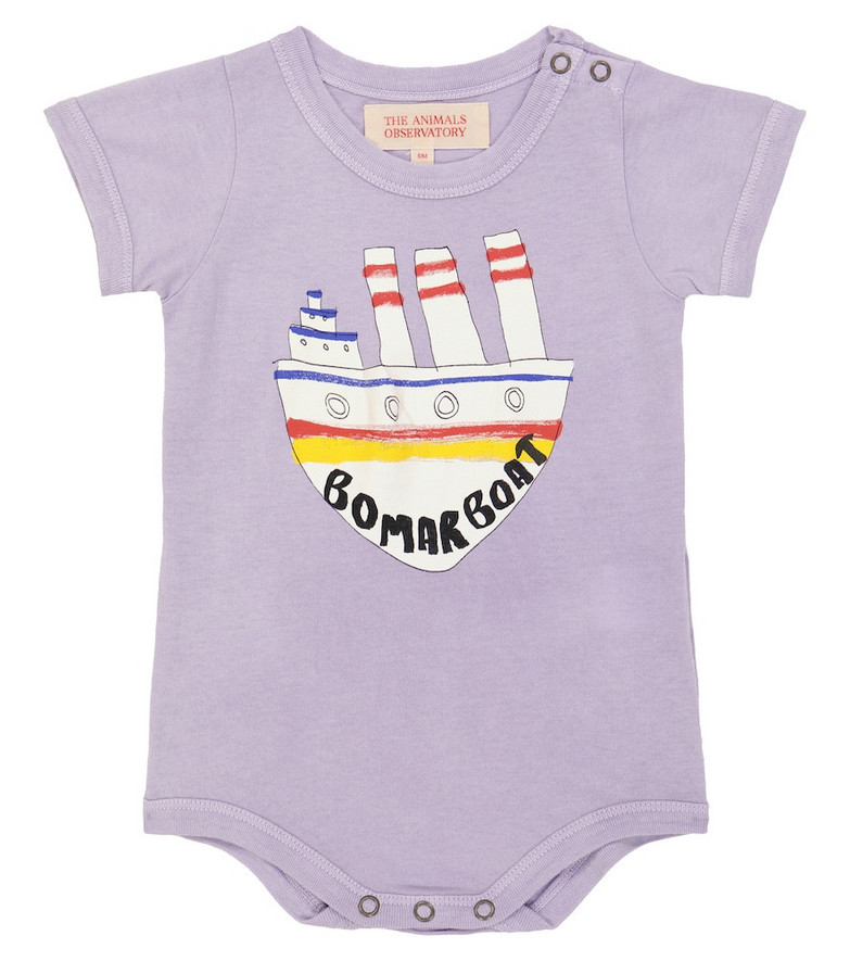 The Animals Observatory Baby short-sleeved cotton body in purple