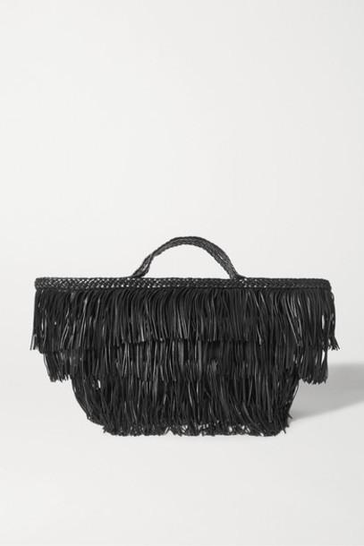 SAINT LAURENT - Panier Fringed Leather Tote - Black