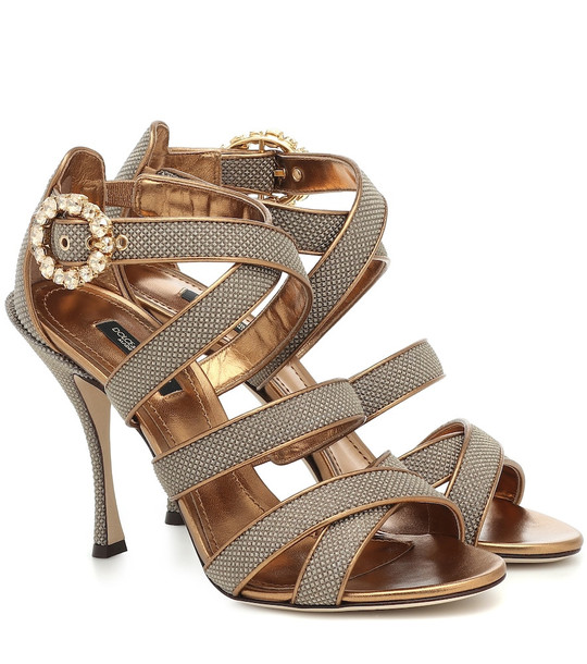 Dolce & Gabbana Leather-trimmed sandals in metallic