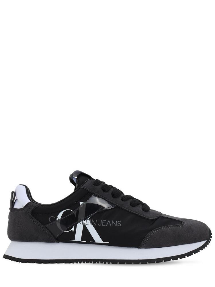 CALVIN KLEIN JEANS 20mm Josepha Nylon & Faux Suede Sneakers in black / grey