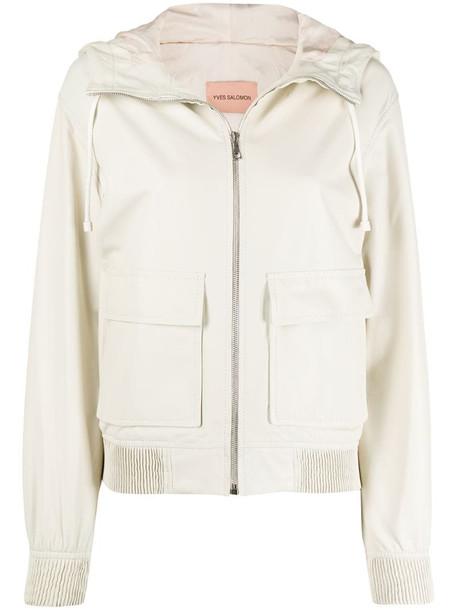 Yves Salomon zipped drawstring jacket in neutrals