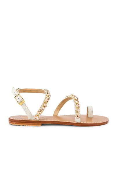 Mystique Asymmetrical Strap Sandal in beige
