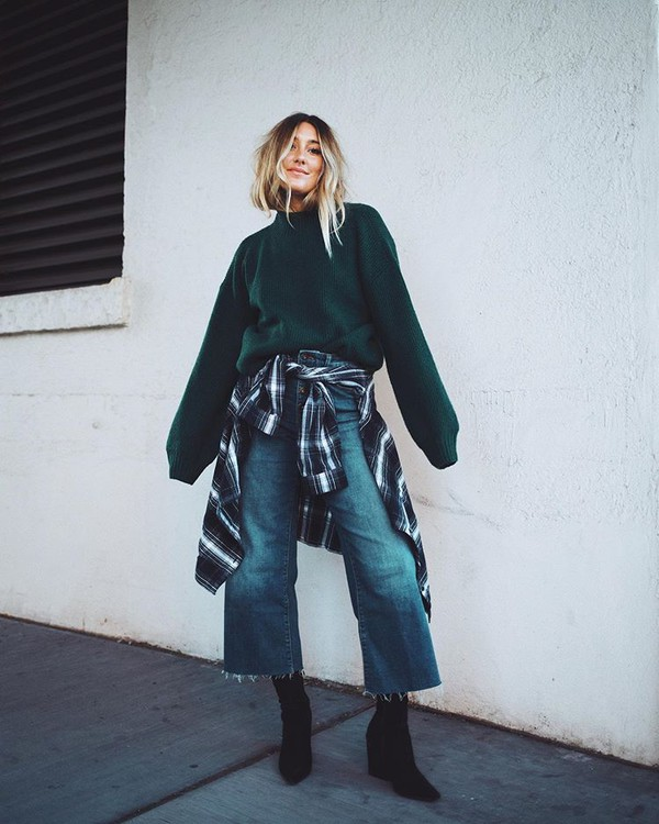 sweater green sweater wide-leg pants cropped jeans black boots plaid shirt