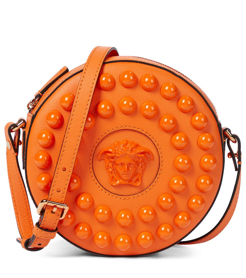 Versace La Medusa leather crossbody bag in orange