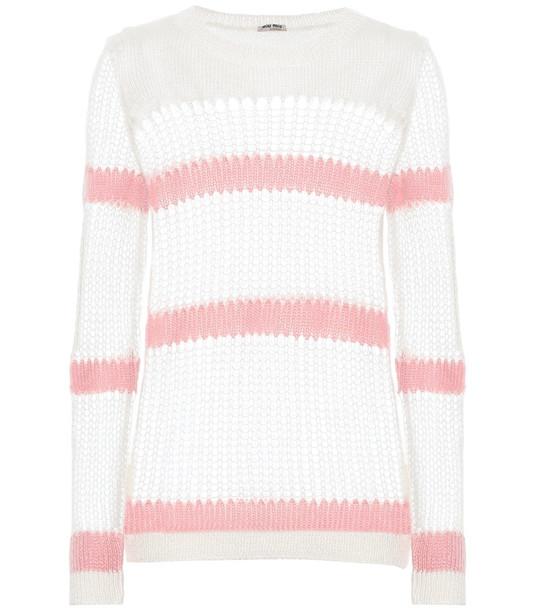 Miu Miu Mohair and wool-blend sweater in white