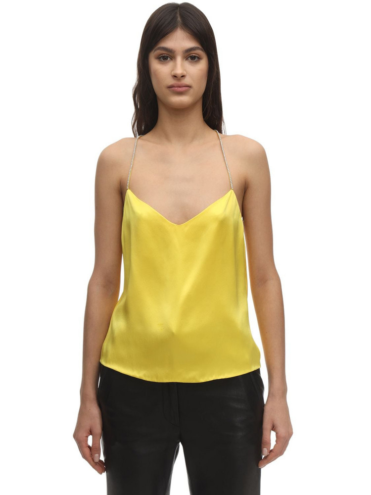 ANOUKI Cross Back Silk Camisole Top in yellow
