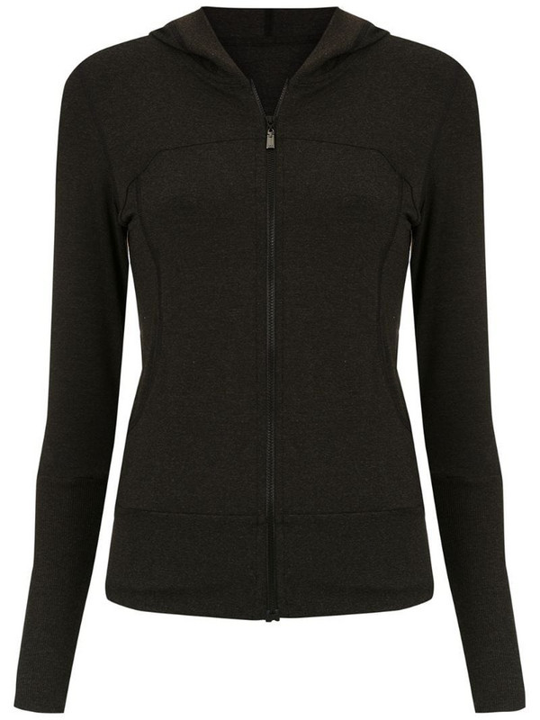 Track & Field hooded Yoga jacket in black