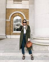 coat,green coat,trench coat,long coat,black sandals,flat sandals,straight jeans,high waisted jeans,brown bag,white t-shirt,belt
