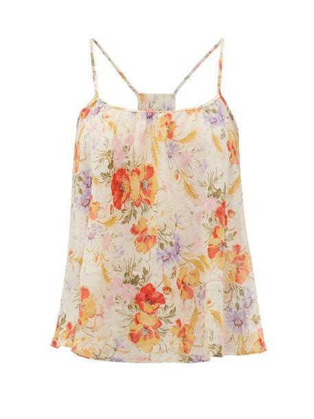 Loup Charmant - Floral-print Organic-cotton Cami Top - Womens - Yellow Print