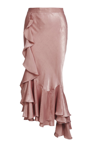 We Are Kindred Frenchie Ruffled Taffeta Maxi Skirt Size: 4 in pink