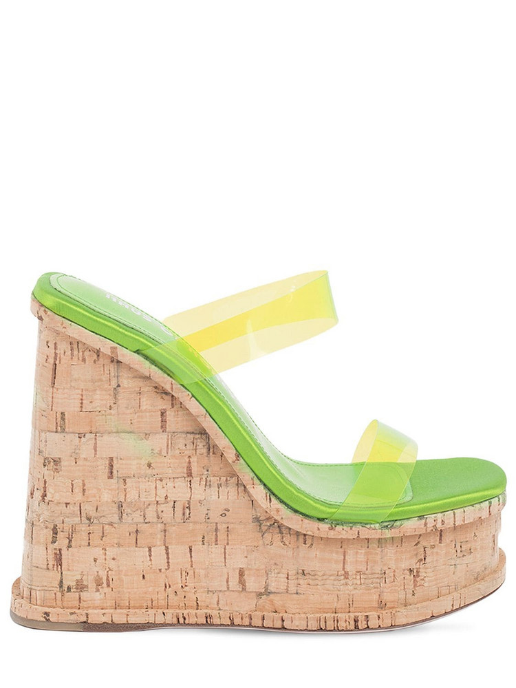 HAUS OF HONEY 140mm Palace Pvc Wedge Mules in green
