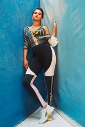 pants,selena gomez,celebrity,sportswear,sports bra,leggings,editorial