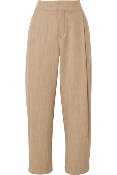 Chloé Chloé - Cropped Pleated Wool-blend Tapered Pants - Neutral