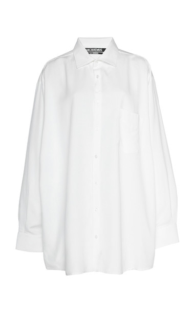 Jacquemus D'Homme Poplin Button-Up Shirt Size: 38 in white