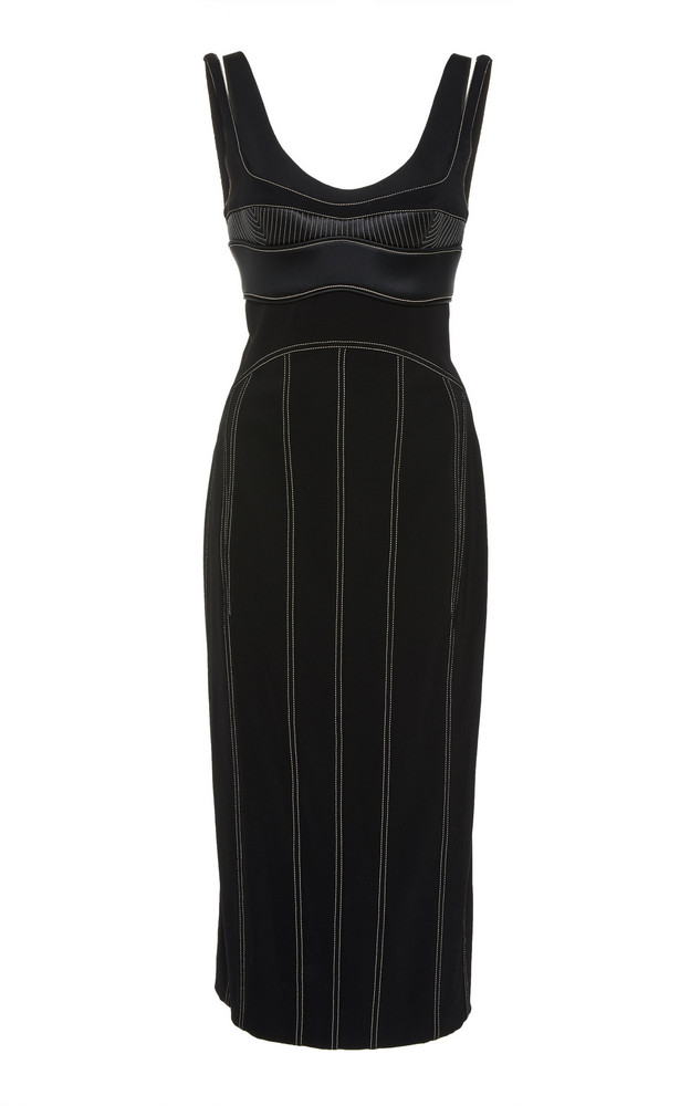 MUGLER Contrast Stitching Crepe Bra Dress in black