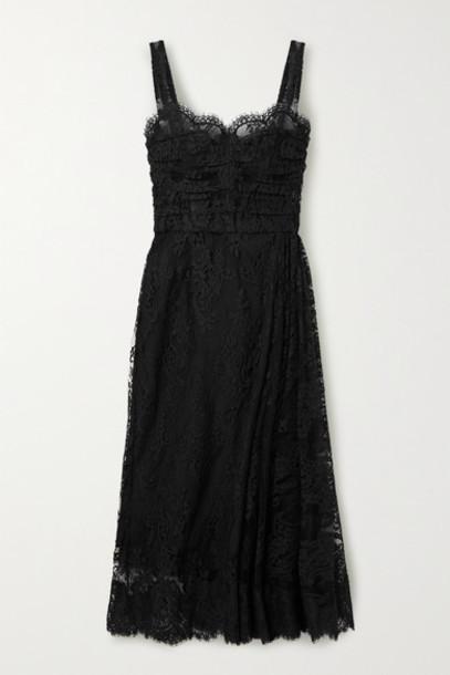 Dolce & Gabbana - Cotton-blend Chantilly Lace Midi Dress - Black