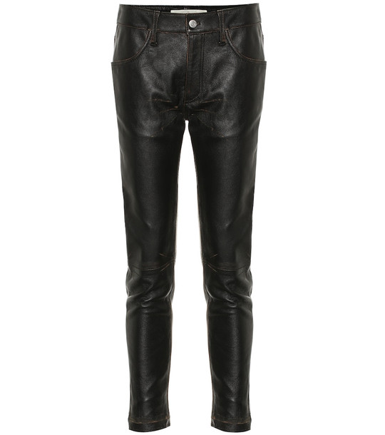 Golden Goose Jolly mid-rise leather pants in black