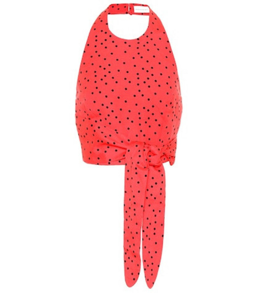 Rebecca Vallance Holliday linen-blend polka-dot top in red